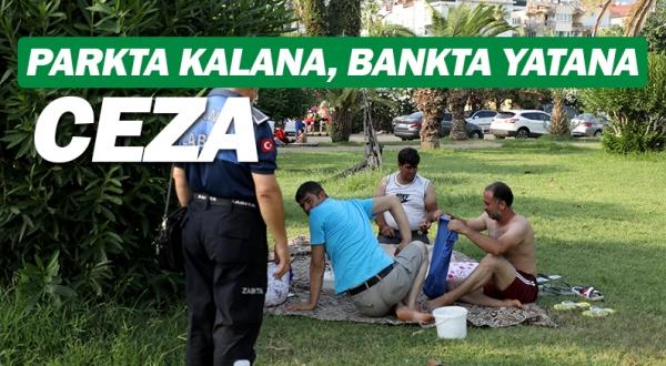 Alanya Belediye'sinen parkta kalana, bankta yatana ceza.