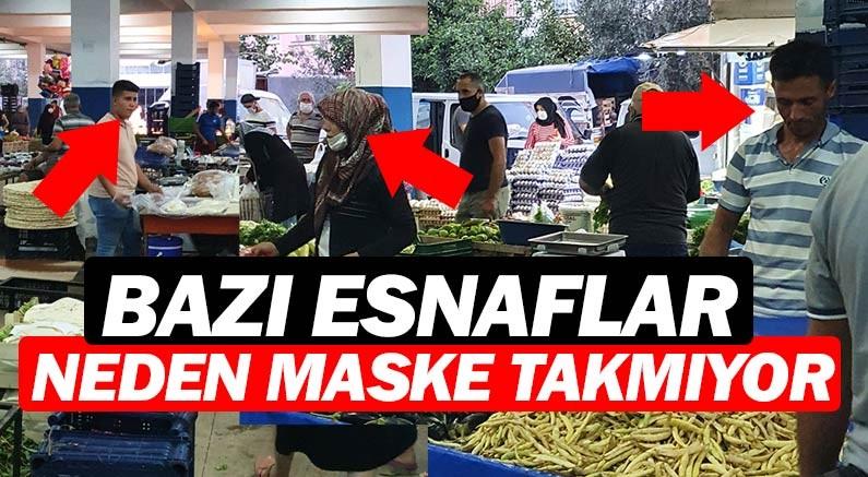 Antalya'da bazı pazarcı esnafı maske takmıyor, zabıta bakıyor.