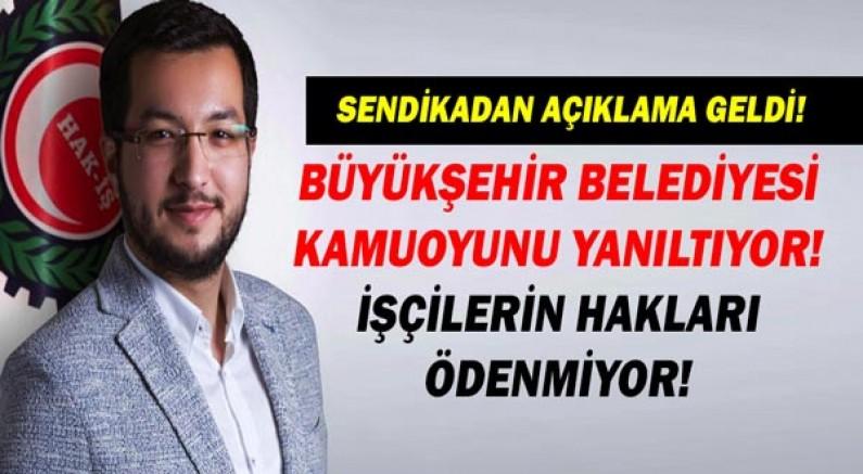 HAK-İŞ/HİZMET-İŞ Sendikası'ndan Antalya Büyükşehir Belediyesine tepki!