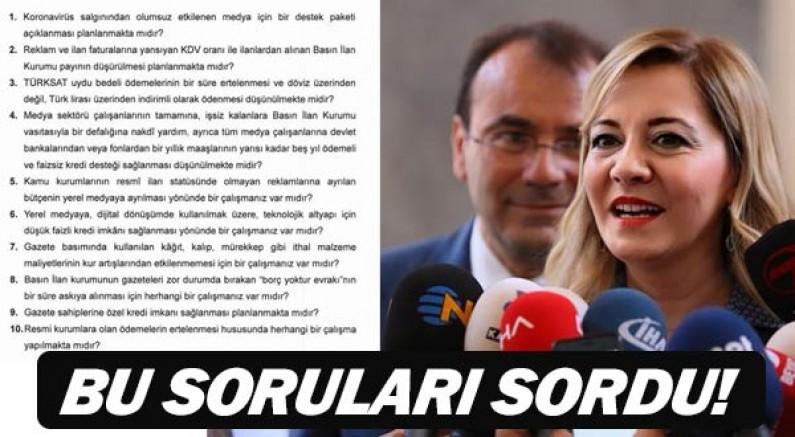 Milletvekili Aylin Cesur Bakan Albayrak'a basın mensupları için bu soruyu sordu.