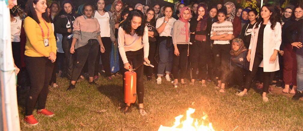 Oba Kız Yurdu öğrencileri yangın tatbikatı yaptı