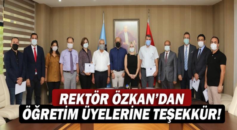 Rektör Özlenen Özkan'dan TÜBİTAK'tan destek alan öğretim üyelerine teşekkür belgesi!