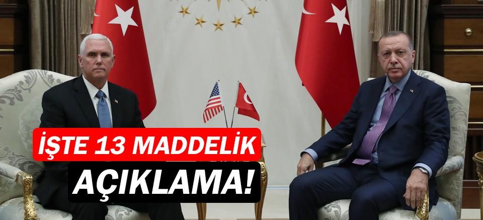 Türkiye ile ABD'den 13 maddelik ortak açıklama!